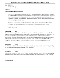 2018-05-02 Bos Hearing Pub Agenda - Pequea Township