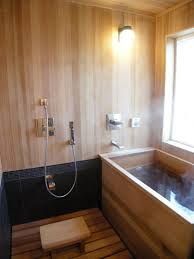 Bathroom:Winsome Small Japanese Bathroom Design With Wood Tub And Globe  Wall Sconces Also Wooden
