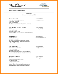 Reference Resume Template Examples Resume References Template