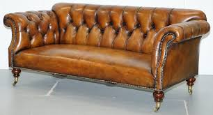 very rare victorian howard sons fully red brown leather chesterfield sofa