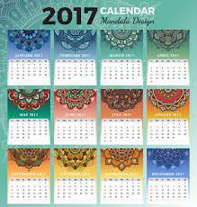 printable monthly calendar 2017 design stock vector ilration of ethnic inches 76492674
