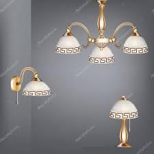 Set Tisch Lampe Kronleuchter Und Wandlampen Im Antiken Stil