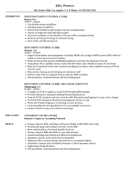 Clerk Resume Sample Document Control Clerk Resume Samples Velvet Jobs 10