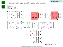 14 solve the following system of equations using matrices
