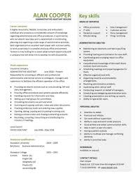 Administrative Assistant Cv Resume Key Skills Administrative