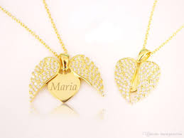 whole angel wing open heart necklace with personalized monogram engrave your name on flying heart necklace gold plated zircon diamond love heart pearl