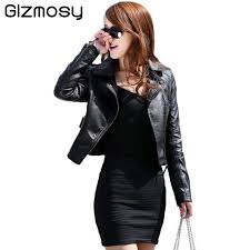 1 pcs vintage pu leather jacket women slim biker motorcycle soft outwear faux leather zipper jackets spring las coats bn122