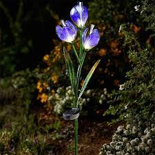 amazing garden lighting flower. Solar Powered Flower Garden Lights \u2013 Crocus Amazing Garden Lighting Flower