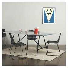 zinc dining room table. Fabric Oak Dining Chairs Flow Round Zinc Top And Teak Room Table With