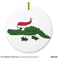 Lighted Alligator Lawn Ornament Cute Alligator Wearing Christmas Hat Metal Ornament Zazzle