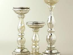 mercury glass candle holders silver pillar pottery barn