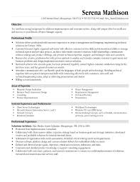 Project Manager Resume Examples Templates Management Objective For