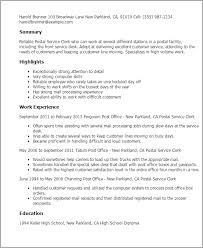 Resume Templates: Postal Service Clerk