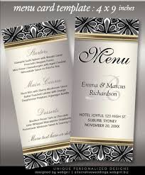 Menu Cards Template 9X4In Rack Cards For Weddings & Events