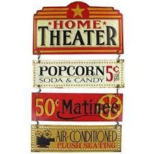 Small Picture Retro Collectible Metal Tin Sign Movie Home Theater Popcorn Soda