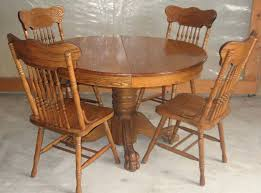 antique inch round oak pedestal claw foot dining room table with chairs colonial tiger
