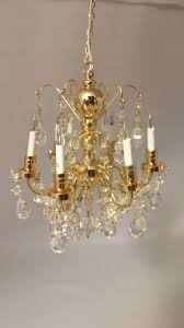 dollhouse miniatures 6 arm crystal chandelier 1 inch scale