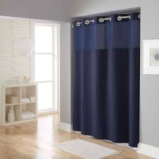 cozy parkay floor with doormat and elegant blue extra long shower curtain liner plus globe pendant