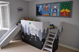 loft with slide. superhero loft bed kids diy with slide