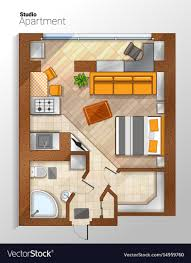Modern Studio Apartment Top View