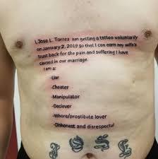 Muž Podváděl Manželku Za Trest Si Nechal Udělat Tetování Přes Celou