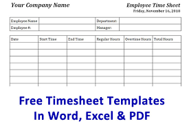 Excel Employee Time Sheet Free Timesheet Template Time Card Template Ontheclock