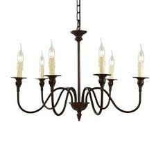 6 light bronze candle chandelier
