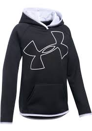 under armour pullover. under armour girls fleece highlight hoodie thumb 2 - black/white/white pullover t
