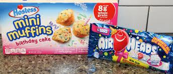 Hostess Mini Muffins Birthday Cake & Air Heads Birthday Cake