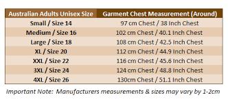 Australian Size Chart Sizing Charts Australian T Shirts Gifts