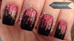 Red And Gold Glitter With Black Gradient Nail Art With Tutorial Video