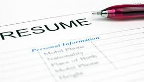 Close-up of resume paperwork