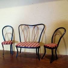 ice cream parlour chairs vintage bentwood checd couch dollhouse for
