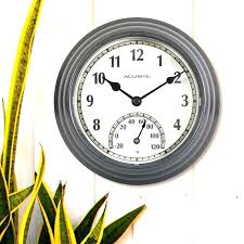 outside clocks garden smart in designs wall clock and intended for outdoor thermometer set 19