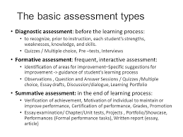 grading based on student centred and transparent assessment of  the basic assessment types diagnostic assessment before the learning process to recognize prior