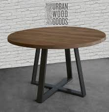 round farmhouse table dining table in reclaimed wood and steel legs in your choice of color