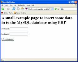 An example to insert some data in to the MySQL database using PHP