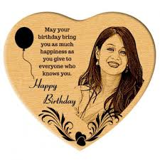happy birthday gift heart shaped wooden engraved photo gift my emotions