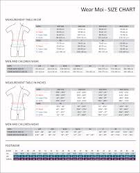 Wear Size Chart Sizing Charts