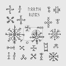 Fototapeta Futhark Norské Vikingské Runy A Talismany Severské Pohanské