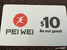 10 pei wei asian diner be our guest gift card coupon one time use promo credit