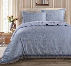 Aliexpress.com : Buy Poly cotton Jacquard Quilt Cover Set with ... & Poly cotton Jacquard Quilt Cover Set with Blue lace including duvet cover  and pillow case Adamdwight.com
