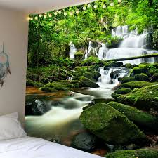 waterfall forest waterproof wall tapestry green w79 inch l71 inch