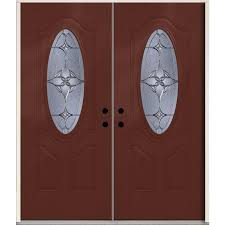 reliabilt astrid oval lite decorative glass left hand inswing wineberry stained fiberglass prehung double entry door with insulating core common 72 in x