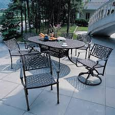 Aluminum Outdoor Dining Table Napoli Collection Cast Aluminum Outdoor 72 Oval Dining Set 7