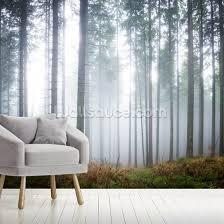 morning forest mist mural wallpaper