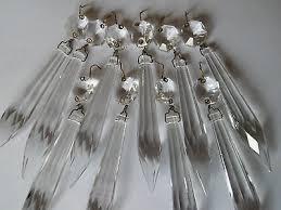 5x vintage facet cut glass crystal icicle chandelier drops spares parts project