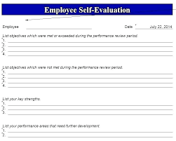 Appraisal Forms Template Employee Form Evaluation Self Report Sample