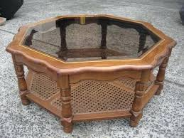 octagon side table vintage octagon glass top coffee table 2 tier cane timber in octagon side octagon side table