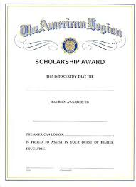 Scholarship Award Certificate Legion Flag Emblem Template Word ...